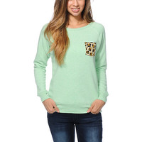 Glamour Kills Cheetah Pocket Mint Crew Neck Sweatshirt at Zumiez : PDP