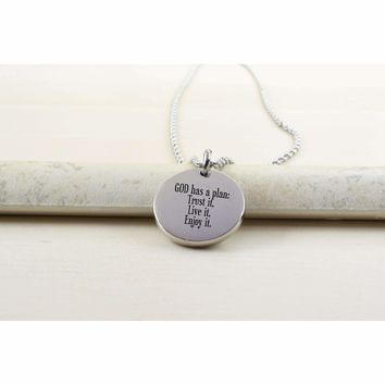Thick Disc Necklace - GOD HAS A PLAN