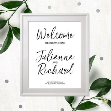 Wedding Welcome Sign Printable-Calligraphy Printable Wedding Sign-Welcome Poster-Navy Blue Welcome Sign-Personalised Stylish Hand Lettered