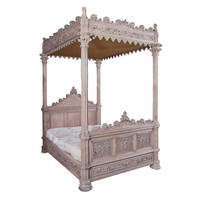 A Magnificent Fully Carved Antique French Gothic Bed-Stripped Oak - France circa 1870