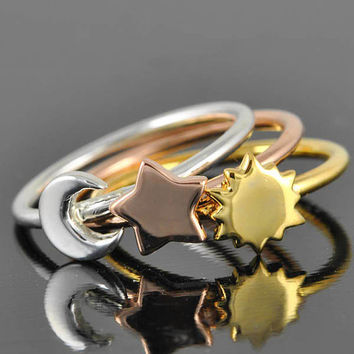 Gold ring, Star ring, Sun ring, Moon ring, sterling silver ring, crescent moon ring