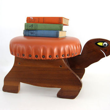 Vintage Footstool Ottoman Turtle Wooden Children Chair Decor Woodland
