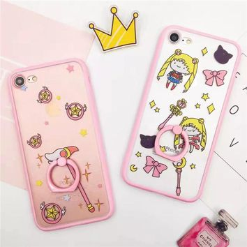 Ring Holder Phone Case For iPhone 6 Case For iPhone 6s plus 7 7 plus Sailor Moon Cute Cartoon Hard Back Case Cover       A30