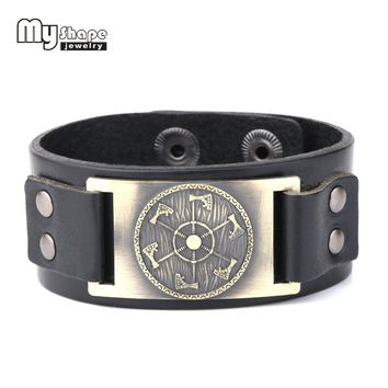 my shape Viking Axe Pendant Men Jewelry Shield Norse Mythology Nordic Fashion Bracelet Leather Pulseira Masculina Bileklik