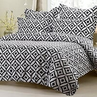 Black/White Diamond Circle 6 Piece Bedding Set Comforter & Duvet Queen-King