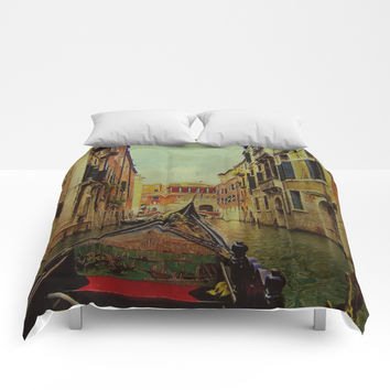 Venice, Italy Canal Gondola View Comforters by Theresa Campbell D'August Art