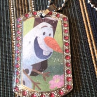 Disney's Frozen Olaf Silver With Pink Rhinestones Dog Tag Necklace