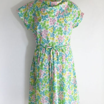 SALE Vintage Dress Flower Dress Floral Dress Pink Green Blue Dress 1950s Dress Bright Floral Dress Rockabilly Swing Dress 1950s Day Dress