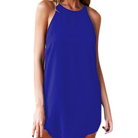 Sara Halter Mini Dress in Royal Blue