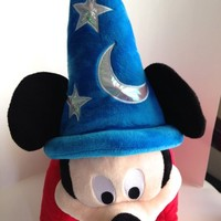 "Disney Parks Exclusive Sorcerer Mickey Mouse Light Up 24"" Plush Pillow Pal"