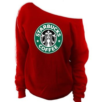 Starbucks Off-The-Shoulder Wideneck Slouchy Sweatshirt