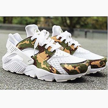 NIKE Huarache White Conttast Camouflage Green Casual Shoes Sneakers Sapphire blue G-AA