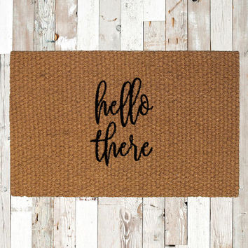 Hello There Coir Doormat, Decorative Area Rug, Hand Painted Hand Woven, Housewarming Gift