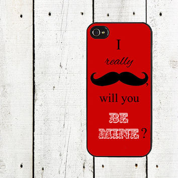 Valentine Mustache iPhone Case - Valentine Cell Phone Case - iPhone 5 Case - iPhone 4,4s - Red Mustache
