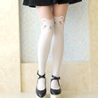 Adorable Teddy Bear Print Mock Thigh High Pantyhose Tights in White | DOTOLY