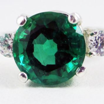 Emerald and CZ Ring Sterling Silver, May Birthstone Ring, Three Stone Ring, Emerald Accent Ring, 3 Stone Ring
