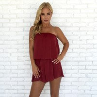 Sleek & Shine Romper in Burgundy