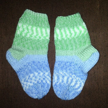 Hand Knitted Socks baby Girl or Boy 18-24 months Old infant shoes booties hand knitting socks blue color multicolor