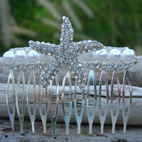 Starfish Sparkly Pearl Beach Wedding Bridal Hair Comb,Starfish Hair Accessory, Starfish Hair, Bridal, Nautical Wedding, Vegan Friendly