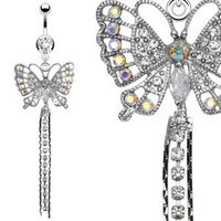 Navel Belly Ring with CZ  Butterfly Dangle