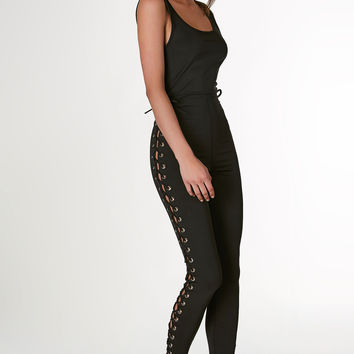 Back To Black Lace Up Jumpsuit