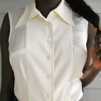 vintage 1990s Cream and Ivory Sleeveless Top by vicethighvintage