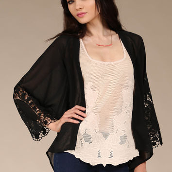 Flying Tomato Black Lace Detail Cover Up