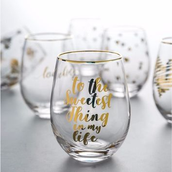 """""""To The Sweetest Thing In My Life"""" Cute Drinking Wine Glasses Champagne Glass Goblets"""