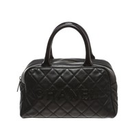 Chanel Black Quilted Caviar Mini Doctor Handbag