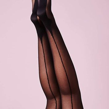 Spandex Sheer Cuban Heel Backseam - Black