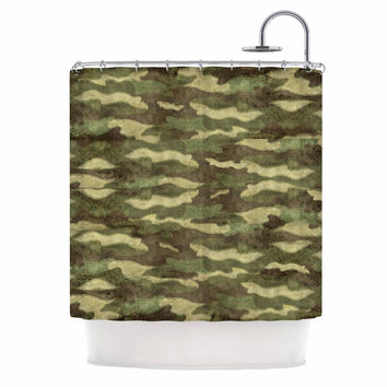 "Bruce Stanfield ""Dirty Camo"" Green Beige Shower Curtain"