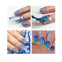 Mermaid Scale Grid Pattern Nail Hollow Out Stencil Stamping Stickers [9619139087]