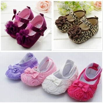 Baby First Walkers Spring Autumn Rose Flower Soft Sole kids Toddler infant Girl Shoes
