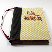 journal, notebook, sketchbook | stars with embroidery Christmas | handmade