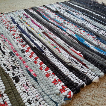 2 DAY SALE! Rag Rug Welcome Mat, Bathroom Rug, Small Kitchen Rugs, Boho Chic Hippie Mat, Yoga Mat, Chindi Style, Scandinavian Cotton Rug