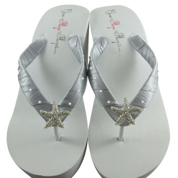 Bridal Flip Flops with Starfish Silver Satin and Swarovski Rhinestones