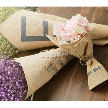 Burlap Bouquet Wrap Flower Hand Holder Cone Wrap with Monogram Wedding Birthday Valentine Day Gift Favor