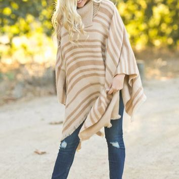 Ashley Taupe Reversible Striped Poncho