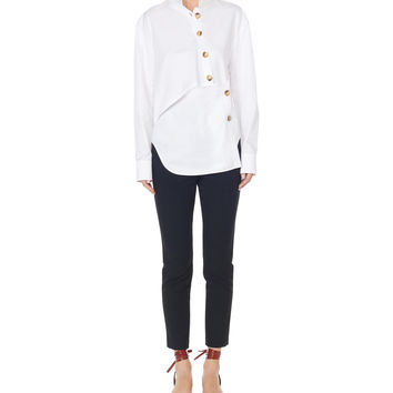 Tibi Satin Poplin Asymmetrical Layered Shirt - White Cotton Shirt