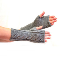 Arm Mittens arm warmers wrist warmers knit gray winter gloves hand warmers accessories fingerless gloves mittens