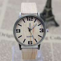 Classical Bamboo Wooden Watch New Arrival Women Wristwatches High Quality Vintage Style Men Dress Watch PU Leather Quartz Watch (Color: Tan) = 1956432836