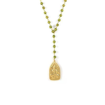 Gold Buddha on Green Rosary Necklace