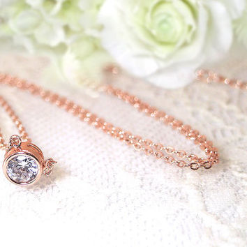 Rose Gold Crystal Necklace,Rose Gold Necklace, Crystal Jewelry, Rose Gold Jewelry, SWAROVSKI Crystal,  Necklace, Single Crystal Necklace