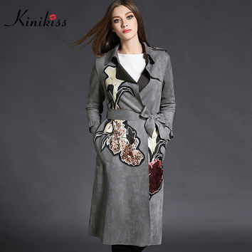 Kinikiss 2016 fashion vintage suede trench coat for women winter long slim 3D print floral sash trench coat female with epaulet