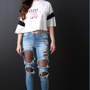 Mid Rise Fishnet Cut Out Denim Jeans