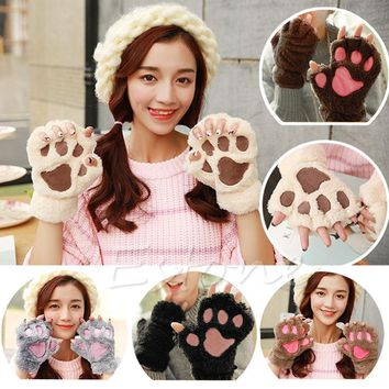 Winter Women Cute Cat Claw Paw Plush Mittens Short Fingerless Half Finger Gloves
