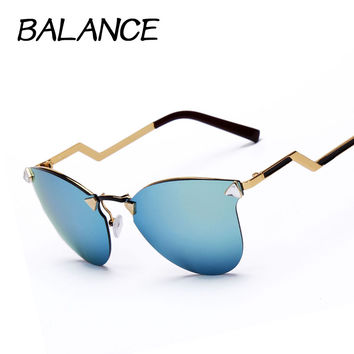Luxury CAT eye Sunglasses women vintage brand designer rimless Sun glasses women's Rhinestone Metal  frame 7 Color Oculos de sol