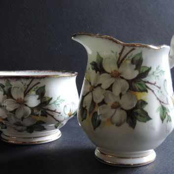Antique Royal Albert White Dogwood Creamer and Open Sugar Royal Albert Fine Bone China Made in England