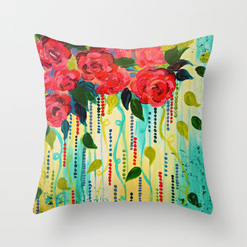 ROSE RAGE Stunning Summer Floral Abstract Flower Bouquet Feminine Pink Turquoise Lime Nature Art Throw Pillow by EbiEmporium