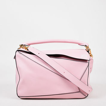 "Loewe Baby Pink Leather Gold Tone Zip ""Puzzle"" Shoulder Bag,brand handbag so amazon love"